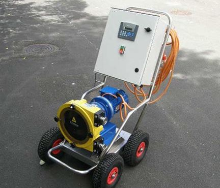 Mobile trolley mounted peristaltic pump for sampling from North Ridge Pumps